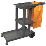 CLEANLINK JANITORS TROLLEY 3 TIER GREY