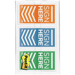 FLAGS COLOR CODE SIGN HERE POSTIT 24MM 682SHOBL ORANGEBLUELIME PK60
