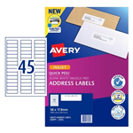 LABEL AVERY INKJET J8156 ADDRESS 58X178 45UP PK25