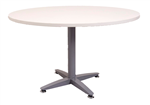 1200MMDIA X 730MMH WHITE ROUND MEETING TABLE WITH 4 STAR SILVER BASE