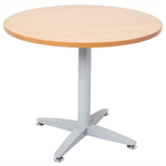 900MMDIA X 730MMH BEECH ROUND MEETING TABLE WITH 4 STAR SILVER BASE